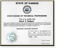 State of Kansas registered landscape architect certification